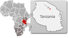 Map of Tanzania with a highlight of Lake Manyara National Park